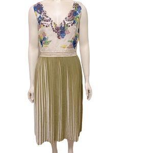 MALIPARMI Cream Green Silk Cotton Pleat Dress 44